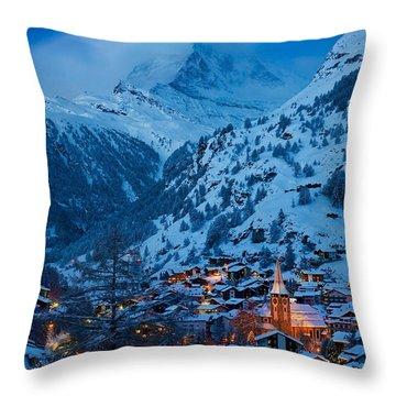 Throw Pillow featuring the photograph Zermatt - Winter's Night by Brian Jannsen