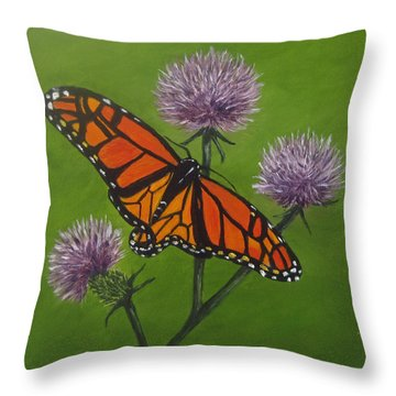 Throw Pillow featuring the painting Zeroing In by Roseann Gilmore