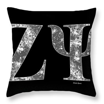 Throw Pillow featuring the digital art Zeta Psi - Black by Stephen Younts