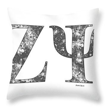 Throw Pillow featuring the digital art Zeta Psi - White by Stephen Younts