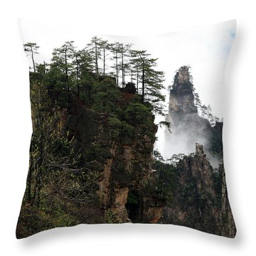 Zhangjiajie National Forest Park In China Throw Pillow by Yue Wang