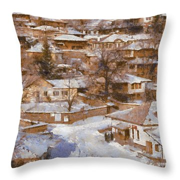 Throw Pillow featuring the painting Zheravna by Georgi Dimitrov