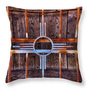 Zia Sun Symbol Gate Throw Pillow by David Patterson