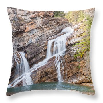 Throw Pillow featuring the photograph Zigzag Waterfall by John M Bailey