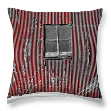 Zink Rd Barn Window Bw Red Throw Pillow