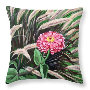Zinnia Among The Grasses Throw Pillow
