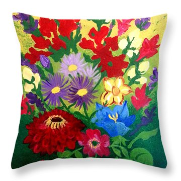 Zinnia And Asters Throw Pillow
