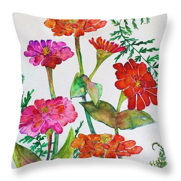 Zinnia And Ferns Throw Pillow