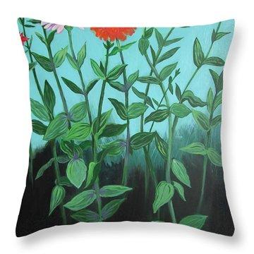 Zinnia Parade Throw Pillow