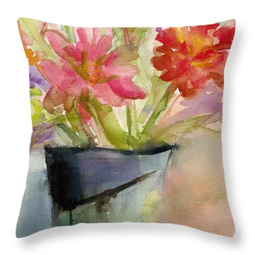 Zinnias In A Vase Watercolor Paintings Of Flowers Throw Pillow by Beverly Brown