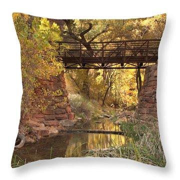 Bridge Fall Colors Throw Pillows