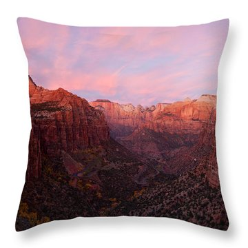 Zion Canyon At Sunset, Zion National Throw Pillow by Panoramic Images