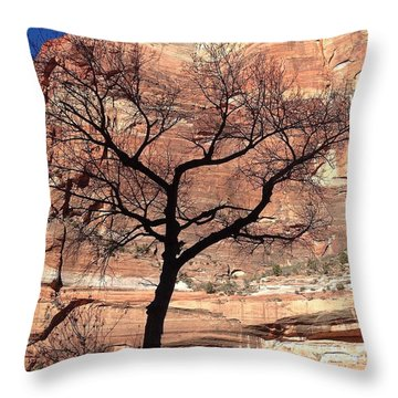 Zion Canyon Tree #2 Throw Pillow by Feva  Fotos