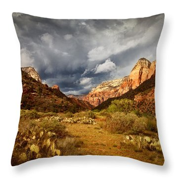 Zion Clearing Storm Throw Pillow by Alice Cahill