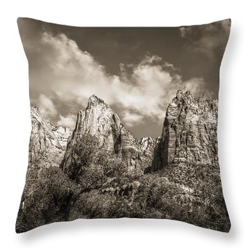 Throw Pillow featuring the photograph Zion Court Of The Patriarchs In Sepia by Tammy Wetzel