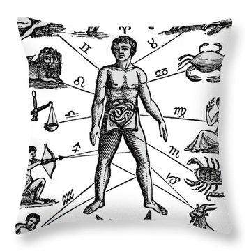 Zodiac Man Drawing Relating Astrology Throw Pillow