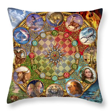 Zodiac Mandala Throw Pillow by Ciro Marchetti