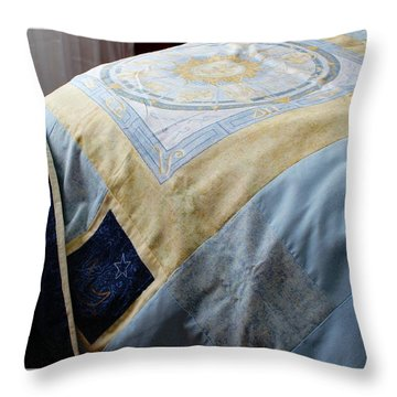 Zodiac Patchwork Quilt Throw Pillow by Barbara Griffin