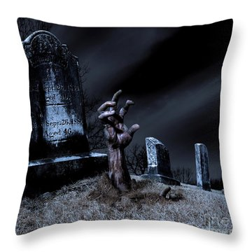 Zombie Rising From The Grave Throw Pillow by Diane Diederich