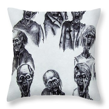 Throw Pillow featuring the drawing Zombies by Michael  TMAD Finney