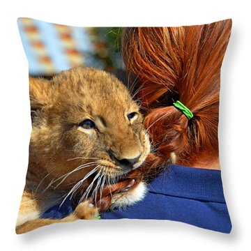 Zootography3 Zion The Lion Cub Likes Redheads Throw Pillow by Jeff at JSJ Photography