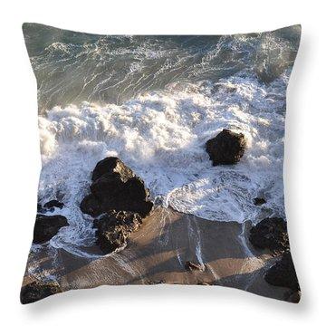 Zuma Beach Throw Pillow by Gandz Photography