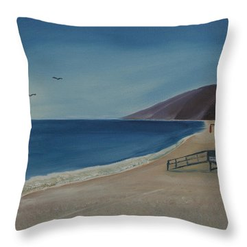 Throw Pillow featuring the painting Zuma Lifeguard Tower by Ian Donley