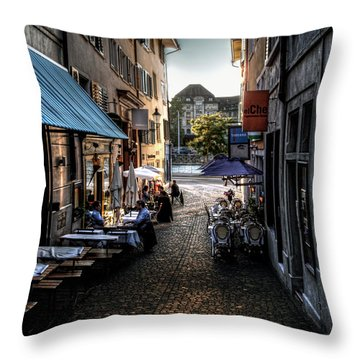 Throw Pillow featuring the photograph Zurich Old Town Cafe by Jim Hill