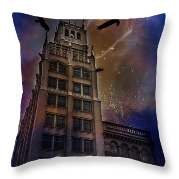 Zuul Visits Asheville Throw Pillow