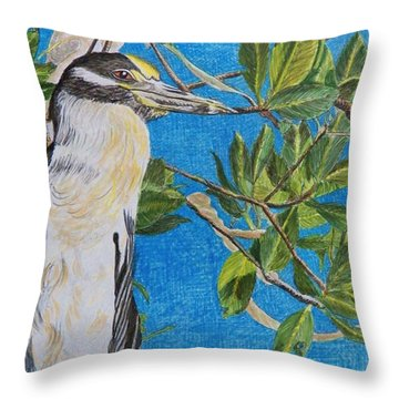 Yellow Crested Night Heron Painting Throw Pillow by Judy Via-Wolff