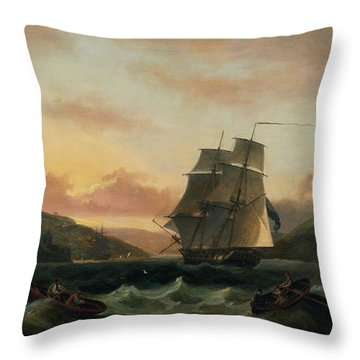 A Brigantine In Full Sail In Dartmouth Harbour Throw Pillow by Thomas Luny