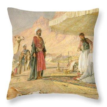 A Frank Encampment In The Desert Of Mount Sinai Throw Pillow by John Frederick Lewis