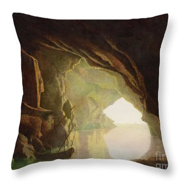 A Grotto In The Gulf Of Salerno - Sunset Throw Pillow by Joseph Wright of Derby