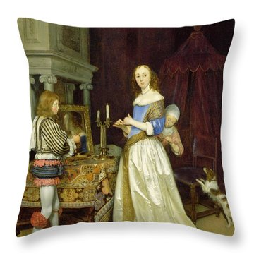 A Lady At Her Toilet Throw Pillow by Gerard ter Borch