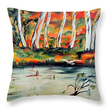 Throw Pillow featuring the painting  Aussiebillabong by Roberto Gagliardi