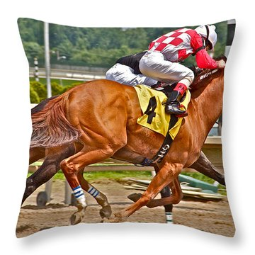 Throw Pillow featuring the photograph  Betting On Number Four by Alice Gipson