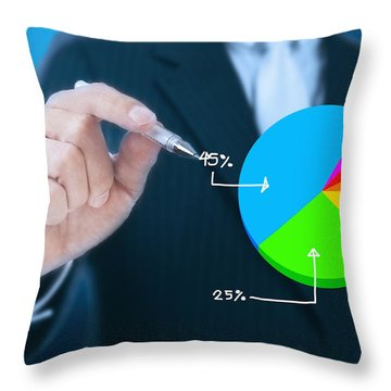 Businessman Writing Graph Throw Pillow by Setsiri Silapasuwanchai