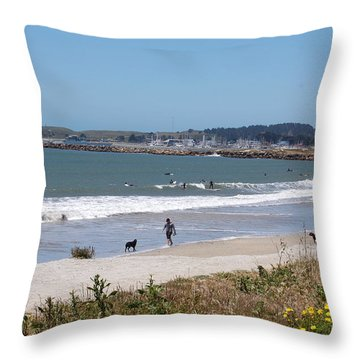 California Beach Throw Pillow by Carolyn Donnell