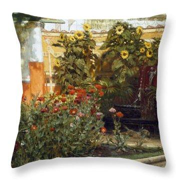 Corner Of A Roman Garden Throw Pillow by Sir Lawrence Alma-Tadema