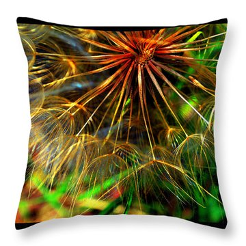 Throw Pillow featuring the photograph  Dandelion Dreamtime by Susanne Still