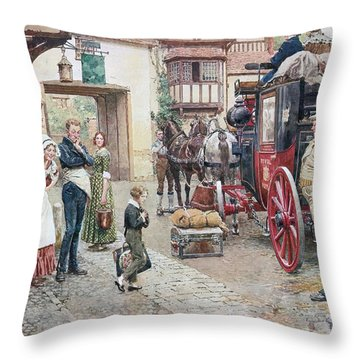 David Copperfield Goes To School Throw Pillow by Fortunino Matania