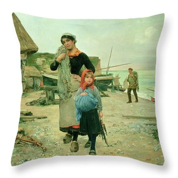 Fisherfolk Returning With Their Nets Throw Pillow by Henry Bacon