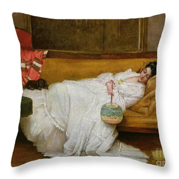 Girl In A White Dress Resting On A Sofa Throw Pillow by Alfred Emile Stevens