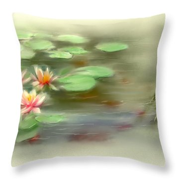 Throw Pillow featuring the painting  Gold Fish Pond by Bonnie Willis
