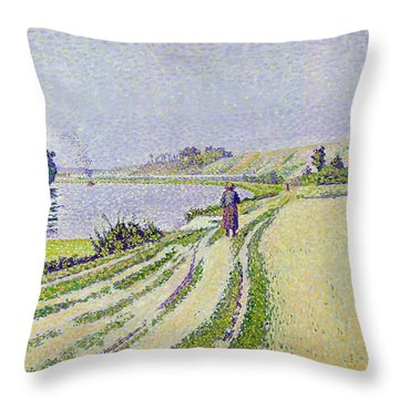 Herblay La River  Throw Pillow by Paul Signac