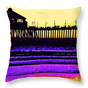 Throw Pillow featuring the photograph  Huntington Beach Pier   by Everette McMahan jr