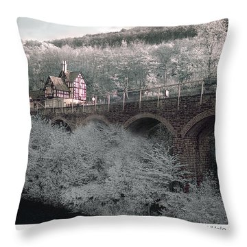 Infrared Train Station Bridge Throw Pillow