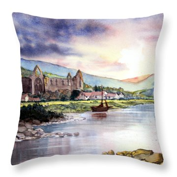 Late Evening At Tintern Abbey Throw Pillow