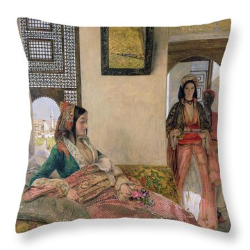 Life In The Harem - Cairo Throw Pillow by John Frederick Lewis
