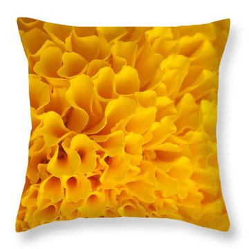 Marigold Macro View Throw Pillow by Atiketta Sangasaeng